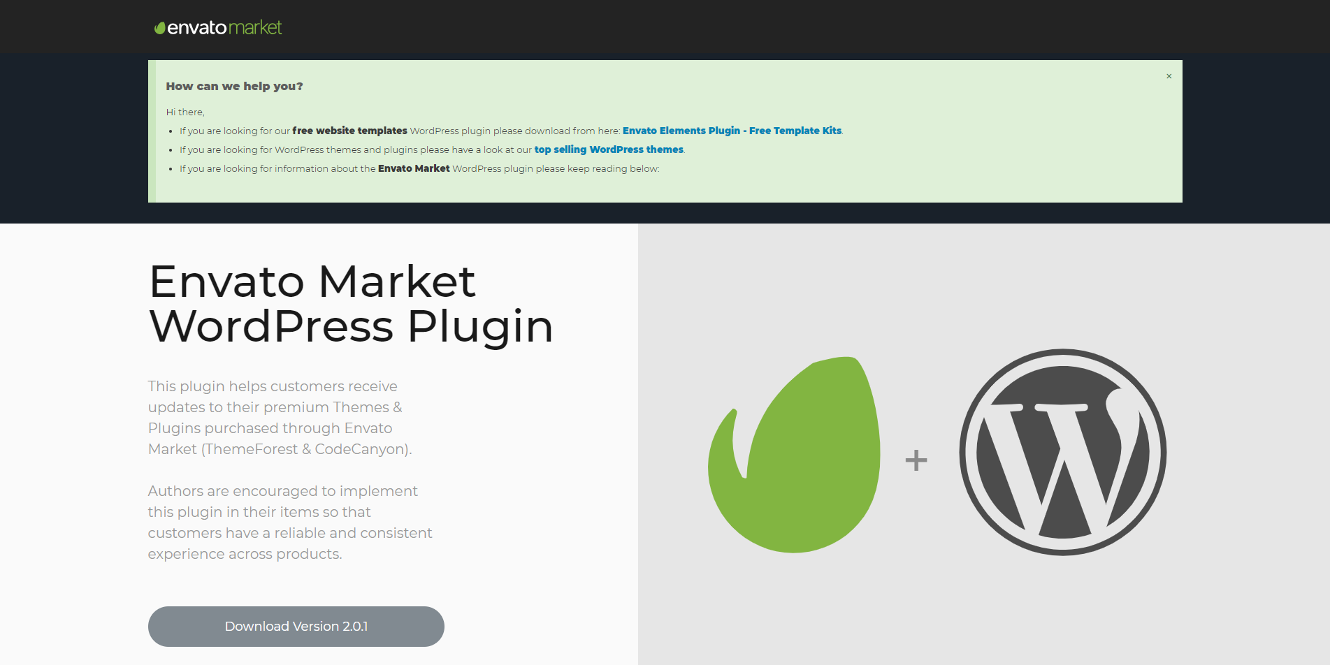 Envato Market WordPress Plugin for Theme Updates |