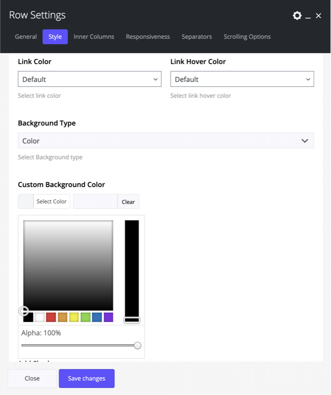 Row background color in Impeka