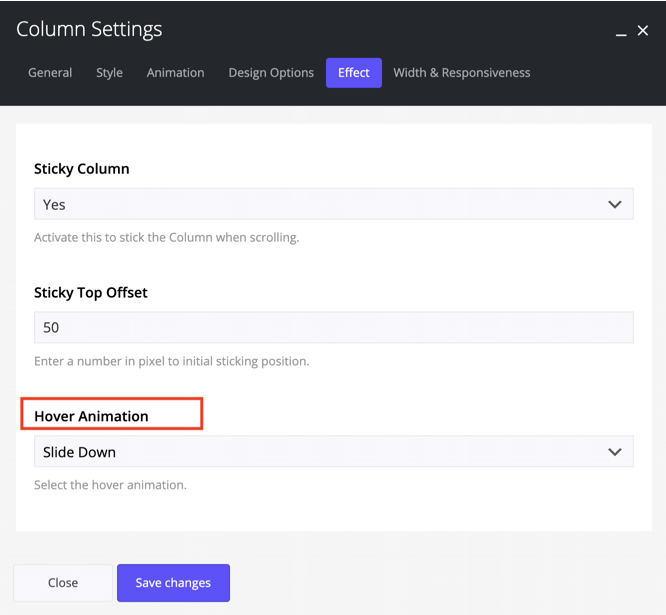 Column Hover animation in Impeka