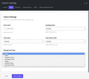 Column style options in Impeka premium theme