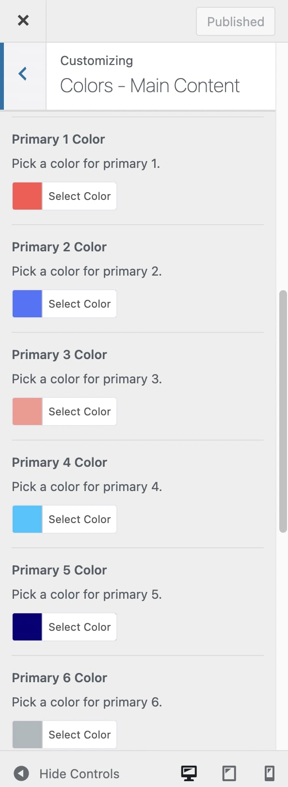 Customize Primary Colors in Impeka