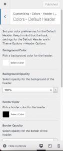 Colors Default Header in Impeka
