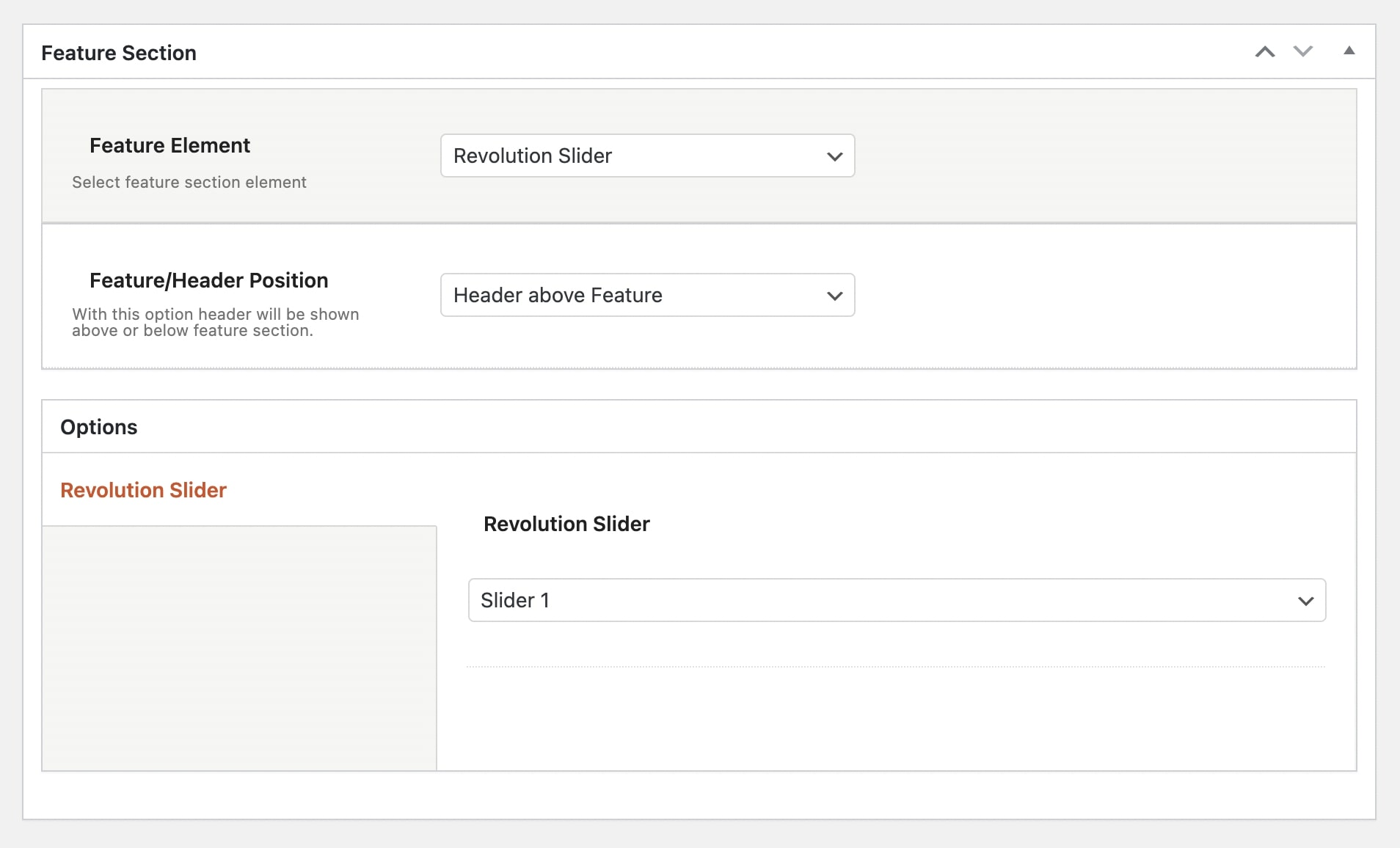 Feature Section Revolution Slider in Impeka