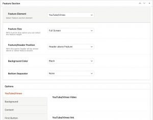 Feature Section YouTube/Vimeo in Impeka