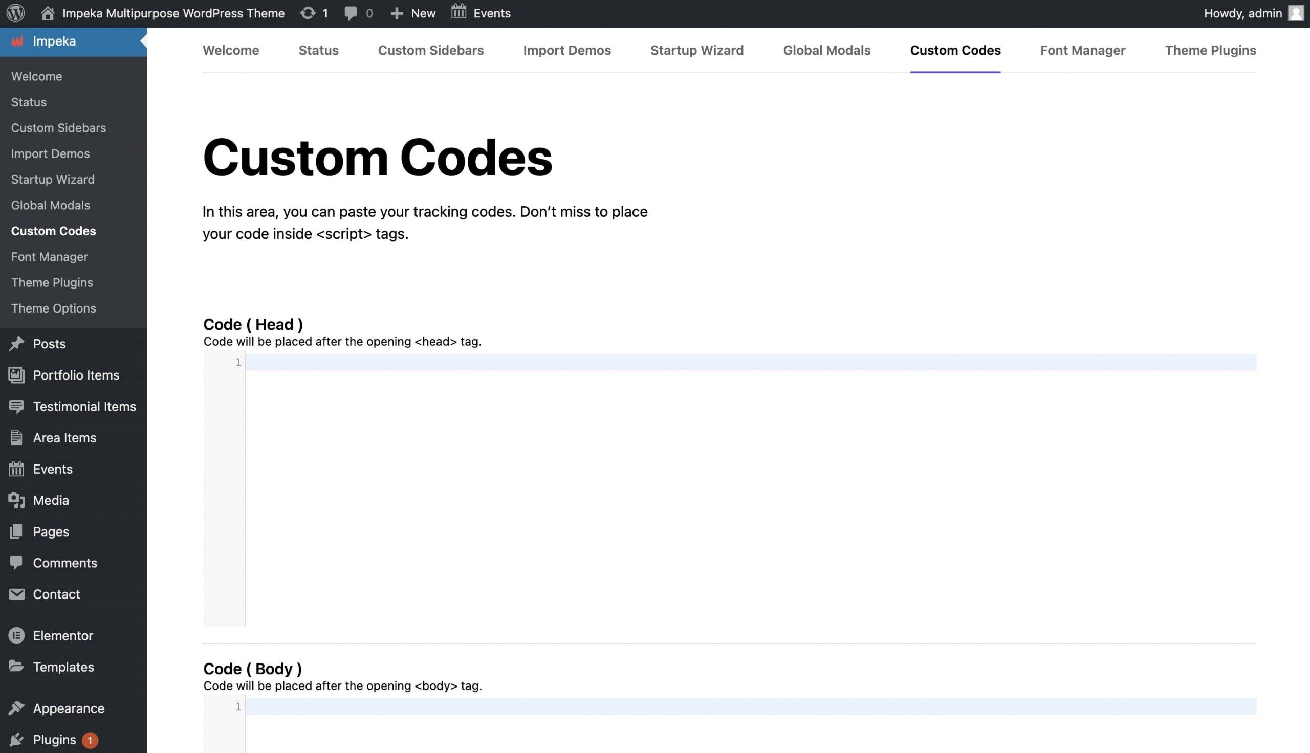 Add Google Analytics tracking code in Impeka