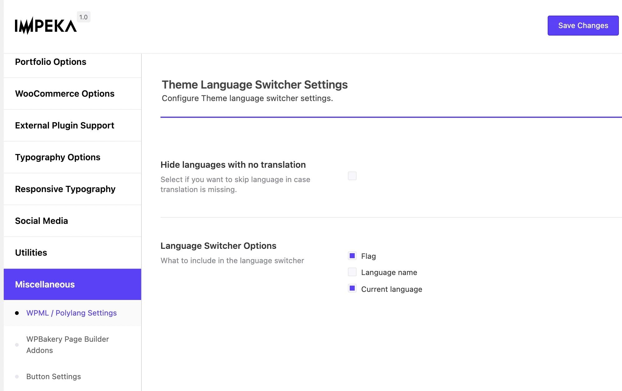 Theme Language Switcher Settings in Impeka