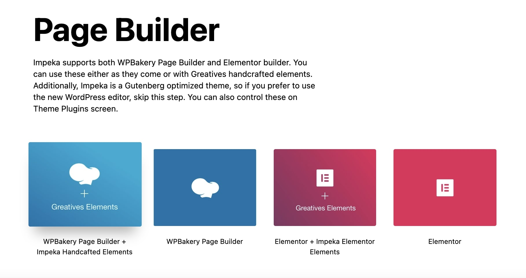 Page Builders in Impeka