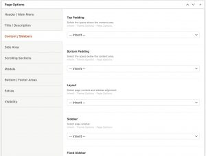 Page Options - Content/Sidebars in Impeka