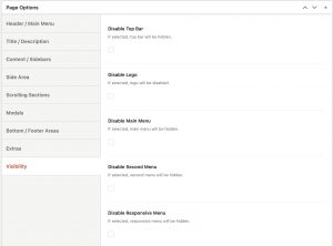 Page Options - Visibility in Impeka
