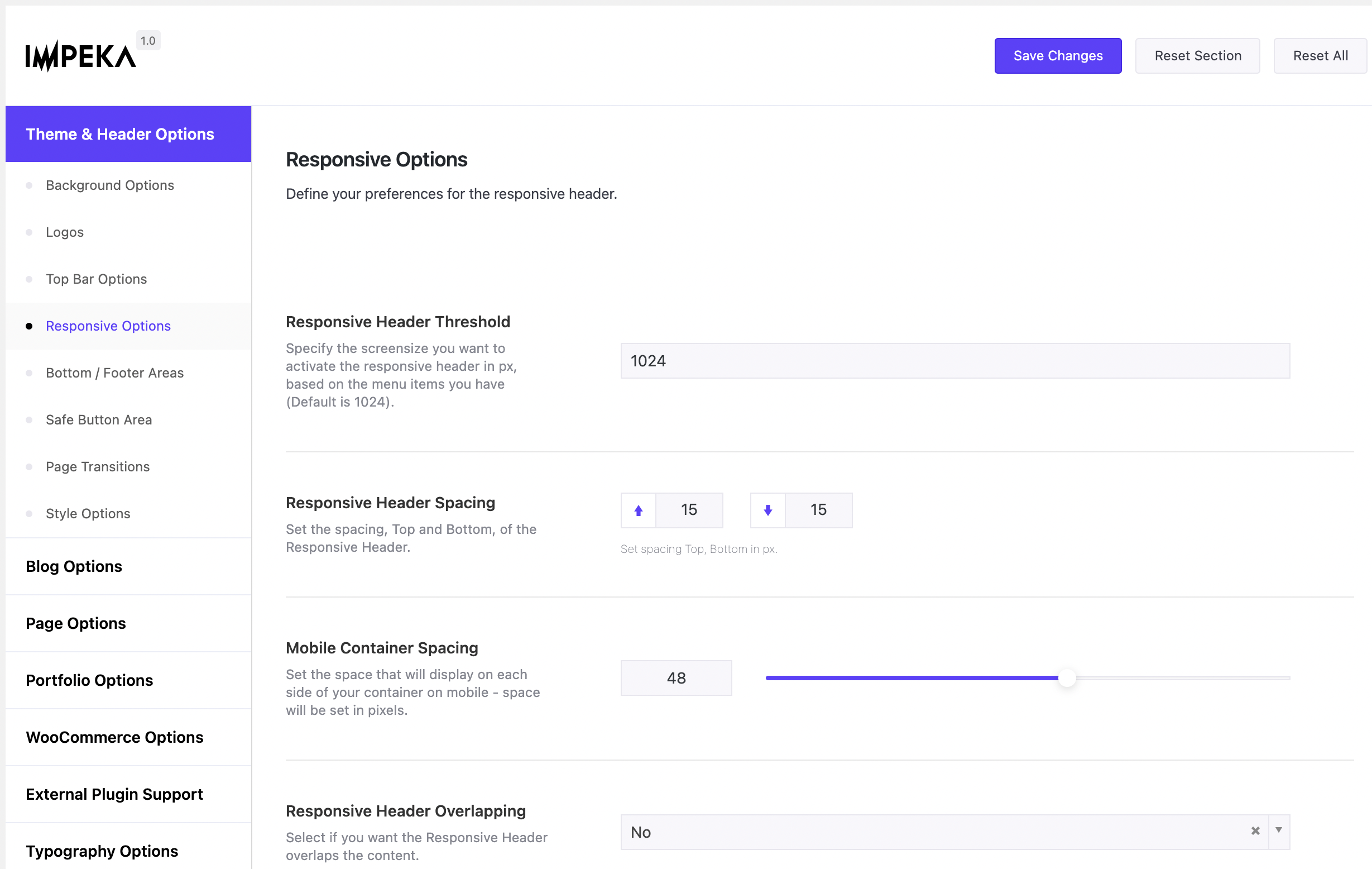 Responsive Header Options in Impeka
