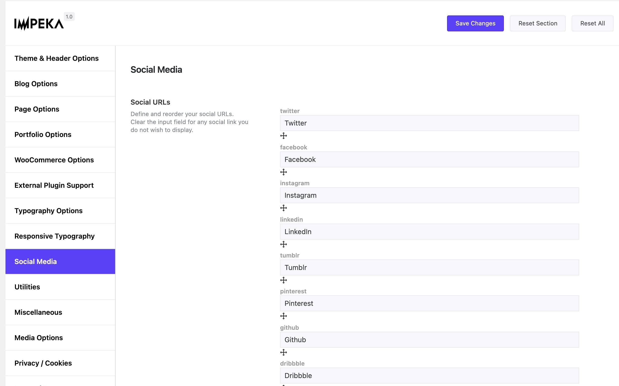 Set Social Links in Impeka