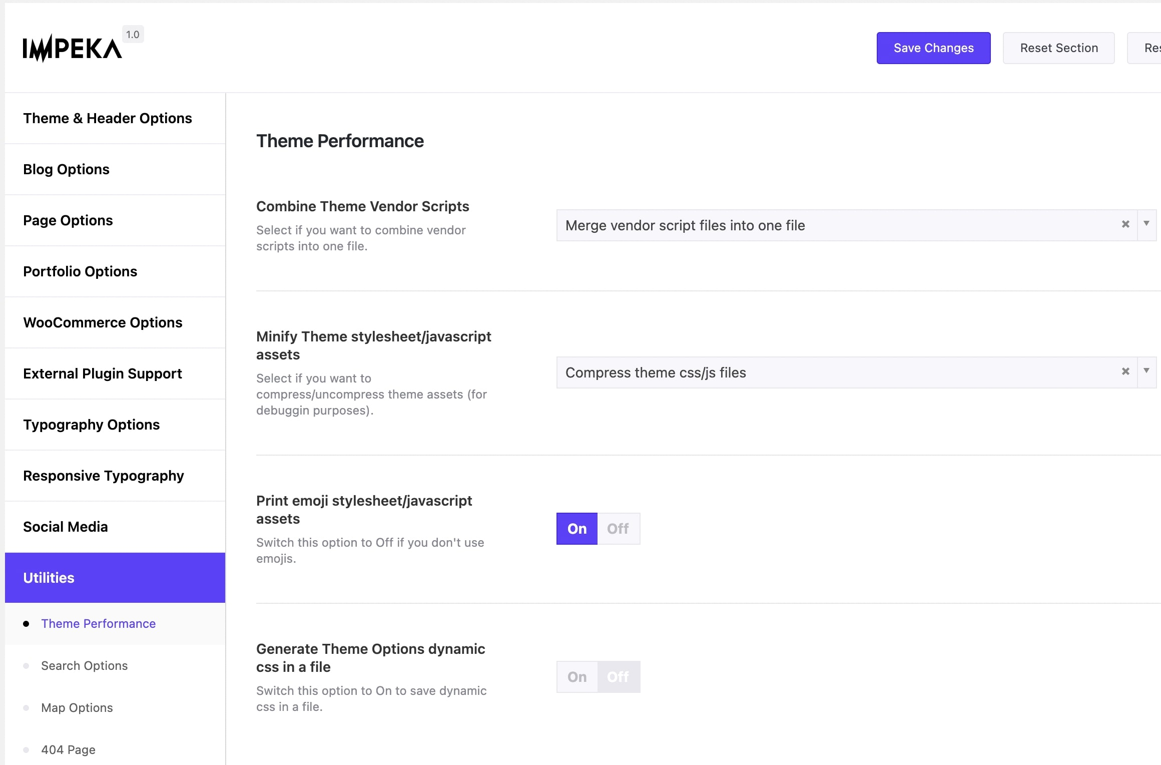 Theme Performance options in Impeka