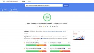 Impeka Corporate on PageSpeed Insights