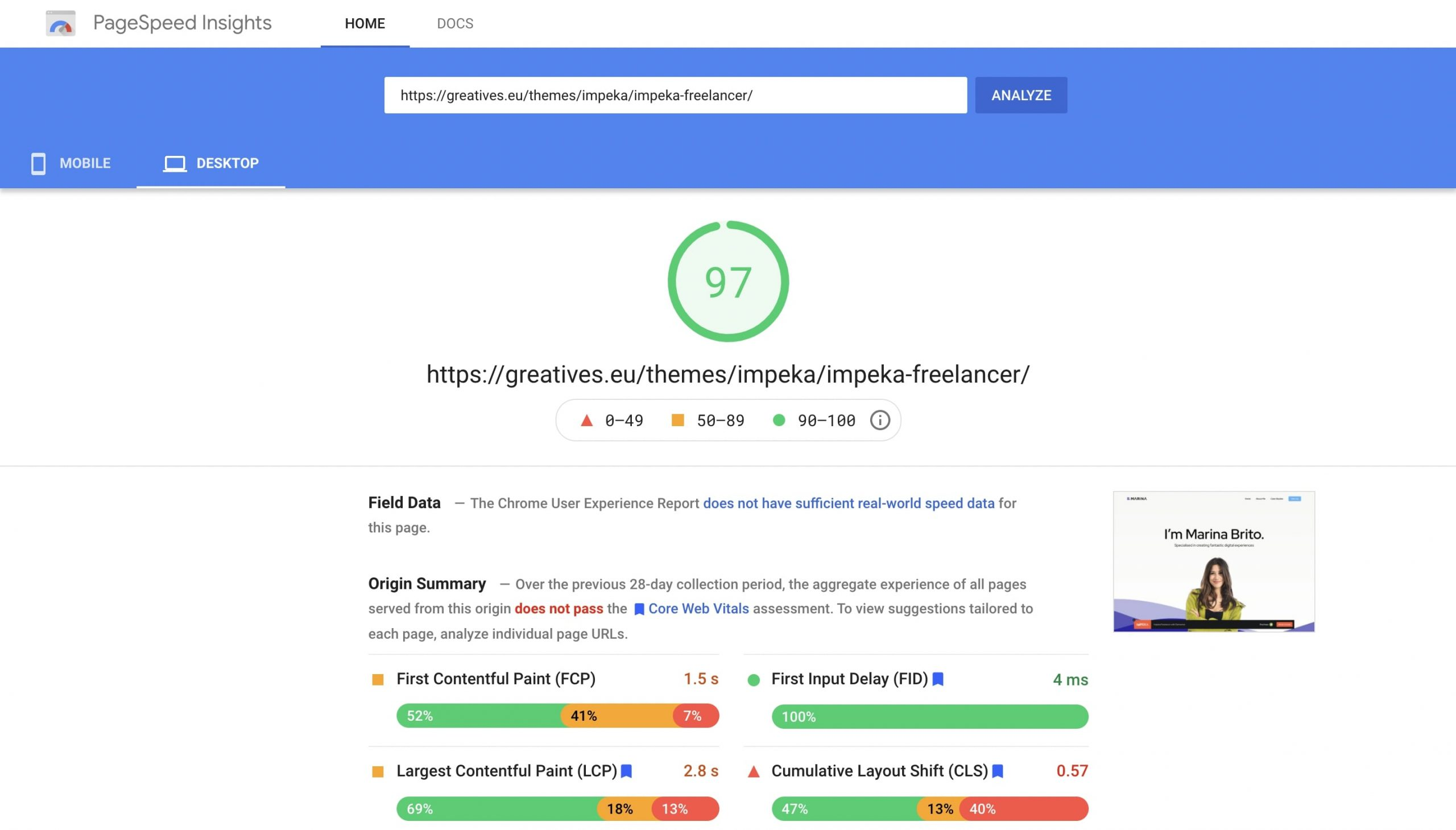 Impeka Freelancer on PageSpeed Insights