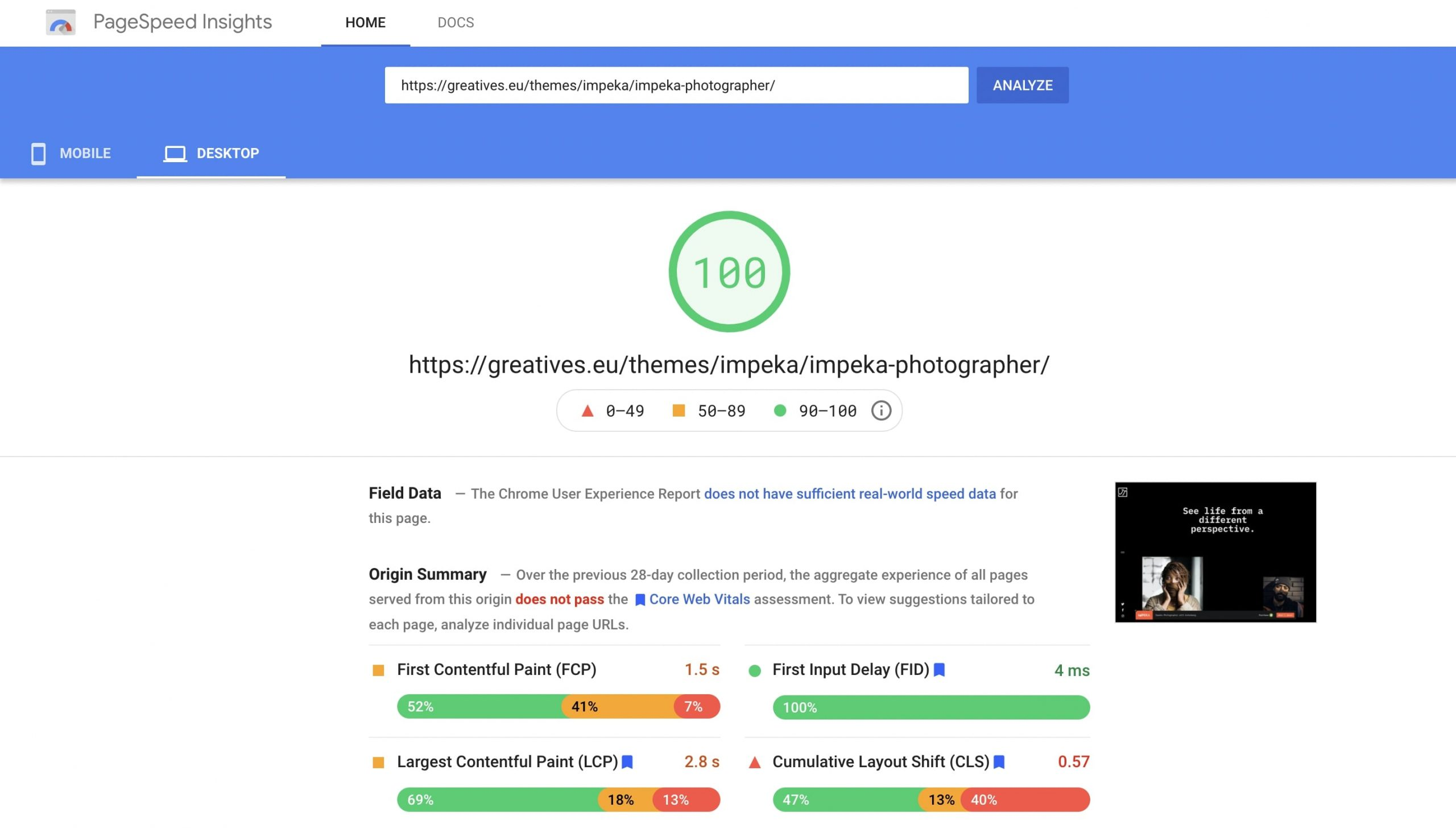 Impeka Photographer on PageSpeed Insights