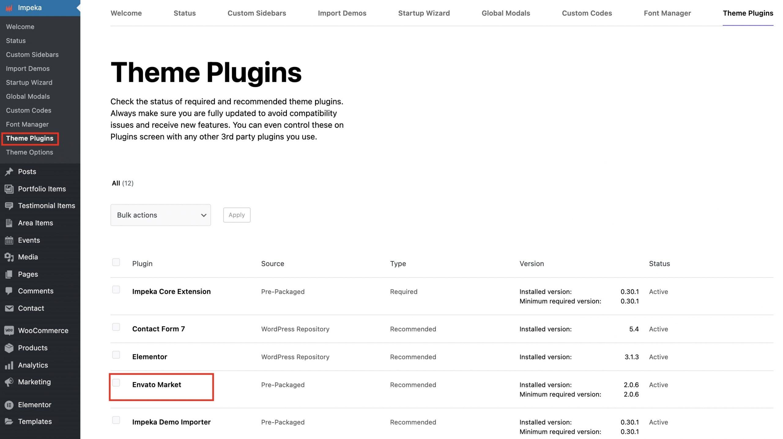 Envato Market plugin in Impeka
