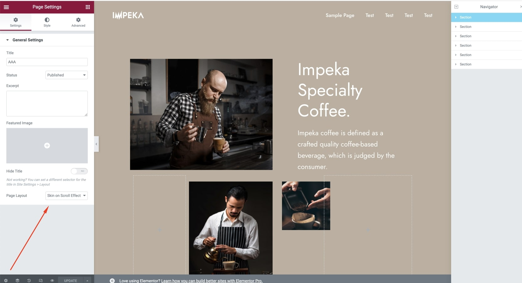 Skin on Scroll Effect template in Elementor - Impeka